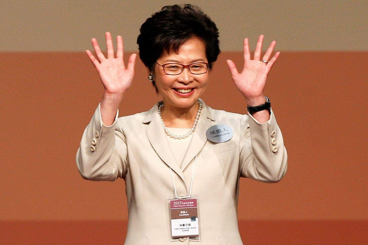 Carrie Lam waves after she won the election for Hong Kong's Chief Executive in Hong Kong, China March 26, 2017.   REUTERS/Bobby Yip     TPX IMAGES OF THE DAY