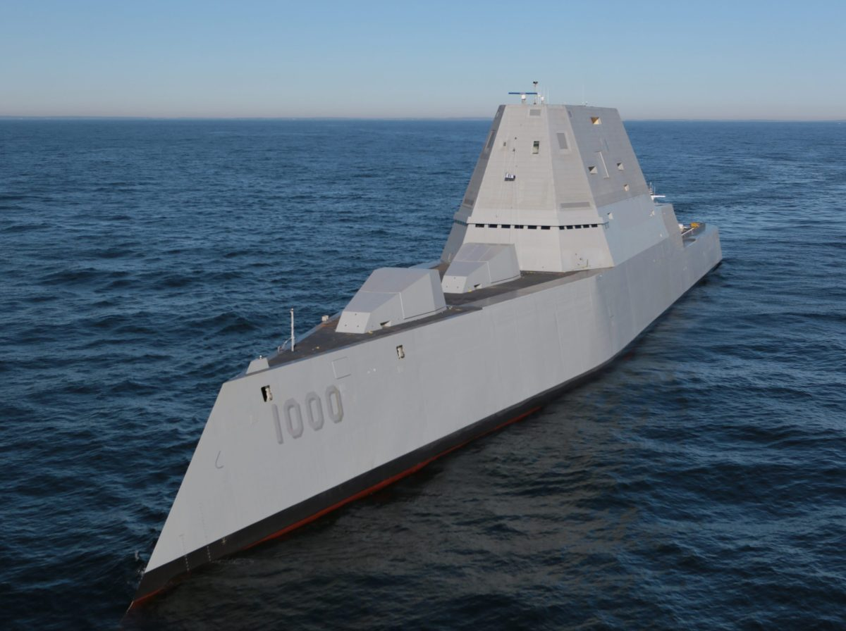 A different kind of ship, the USS Zumwalt, may be coming with a different kind of devastating artillery shell.  Photo: Navy Times