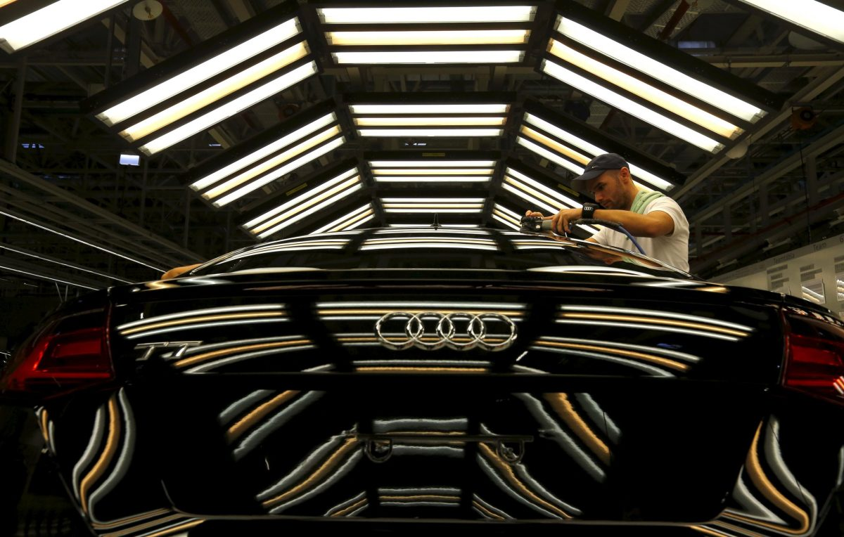 A worker on the assembly line for the new Audi TT. Photo: Retuers/Laszlo Balogh