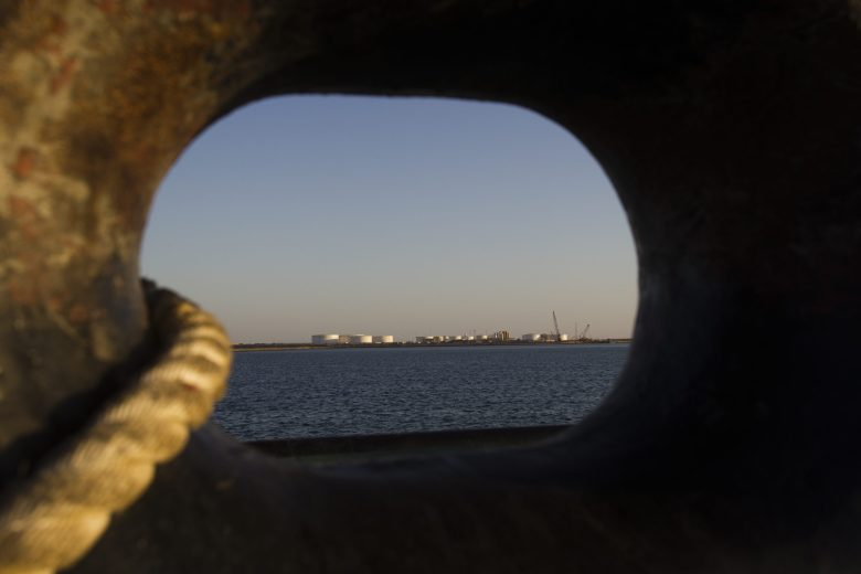 View of an oil dock seen from a ship at the port of Kalantari in the city of Chabahar. Photo: Reuters, Raheb Homavandi
