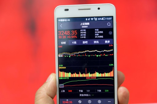 A Chinese investor looks at Shanghai Composite Index. Photo: Imaginechina/Xie zhengyi