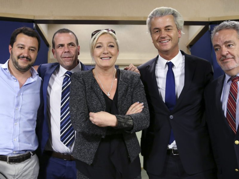 Matteo Salvini, of Italy's Lega Nord party seen with European right-wing politicians. Photo: Reuters, Francois Lenoir