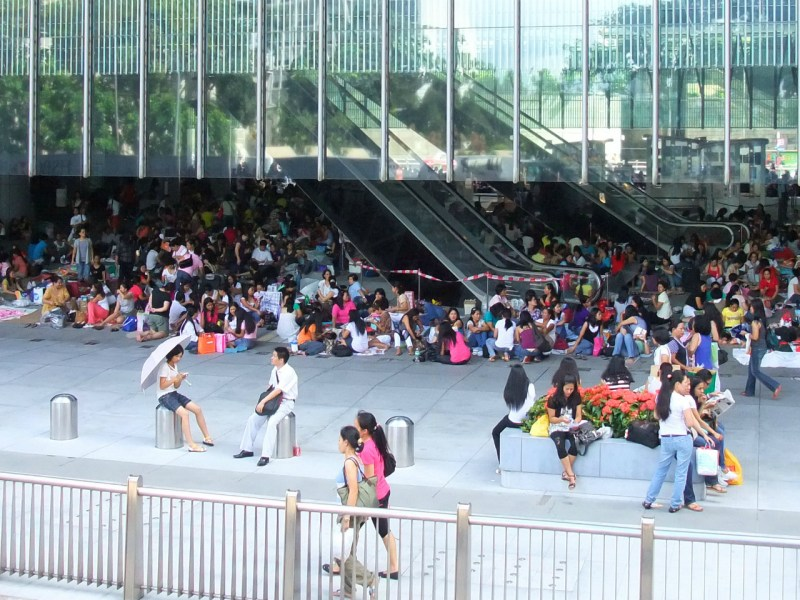 Foreign domestic workers in Central on Hong Kong Island. Photo: Wikimedia Commons