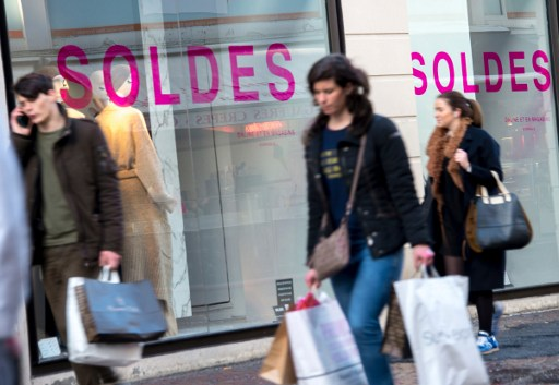 People shop in Lille during France's annual winter sales period. Photo: AFP, Philippe Huguen