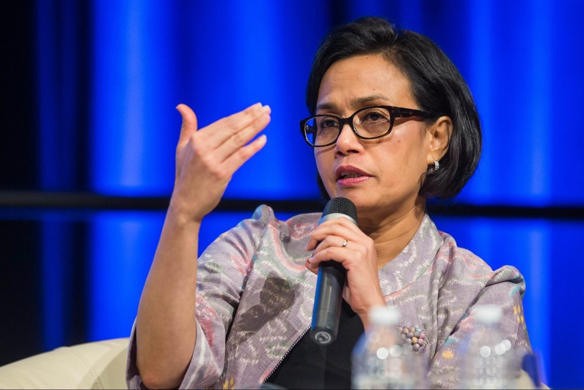 Indonesian Minister of Finance Sri Mulyani Indrawati speaks during a panel discussion on financial inclusion at the 2016 annual meetings of the International Monetary Fund and the World Bank on October 7, 2016. Photo: AFP/ Zach Gibson