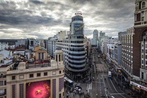Gran Via in central Madrid, Spain, Europe. Photo: AFP
