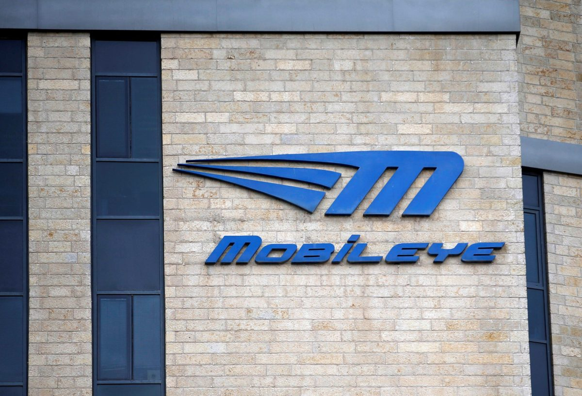 The logo of Israeli driverless technology firm Mobileye. Reuters, Ronen Zvulun