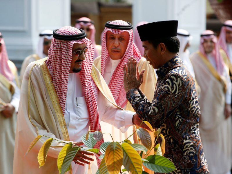 Indonesian President Joko Widodo (R) gestures to King Salman of Saudi Arabia following a tree planting ceremony at the presidential palace in Jakarta, Indonesia March 2, 2017. Photo: Reuters / Darren Whiteside