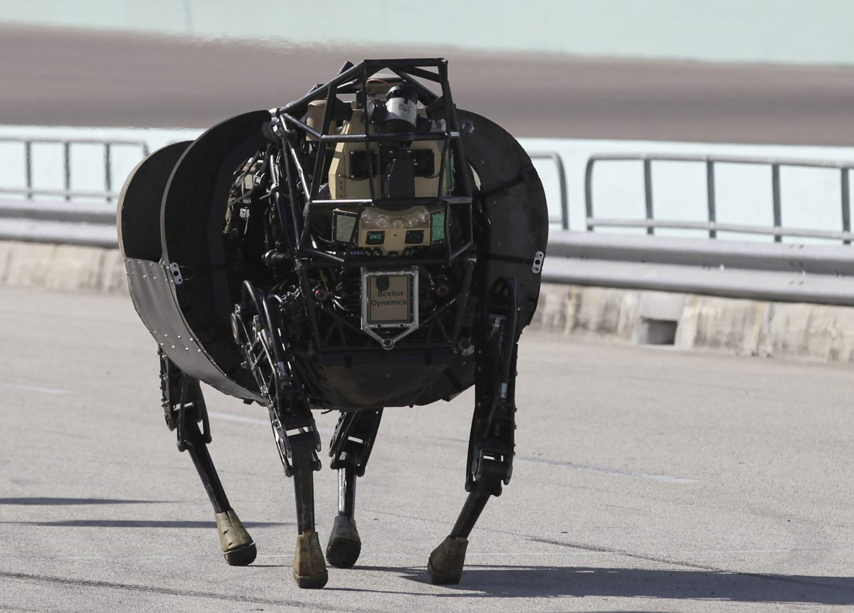 Will the LS 3 (Legged Squad Support System) robot one day march into Fukushima? It's seen here in Florida December 20, 2013, during trials by the U.S. Defense Advanced Research Projects Agency (DARPA) for machines that can respond to natural and man-made disasters. Reuters/Andrew Innerarity