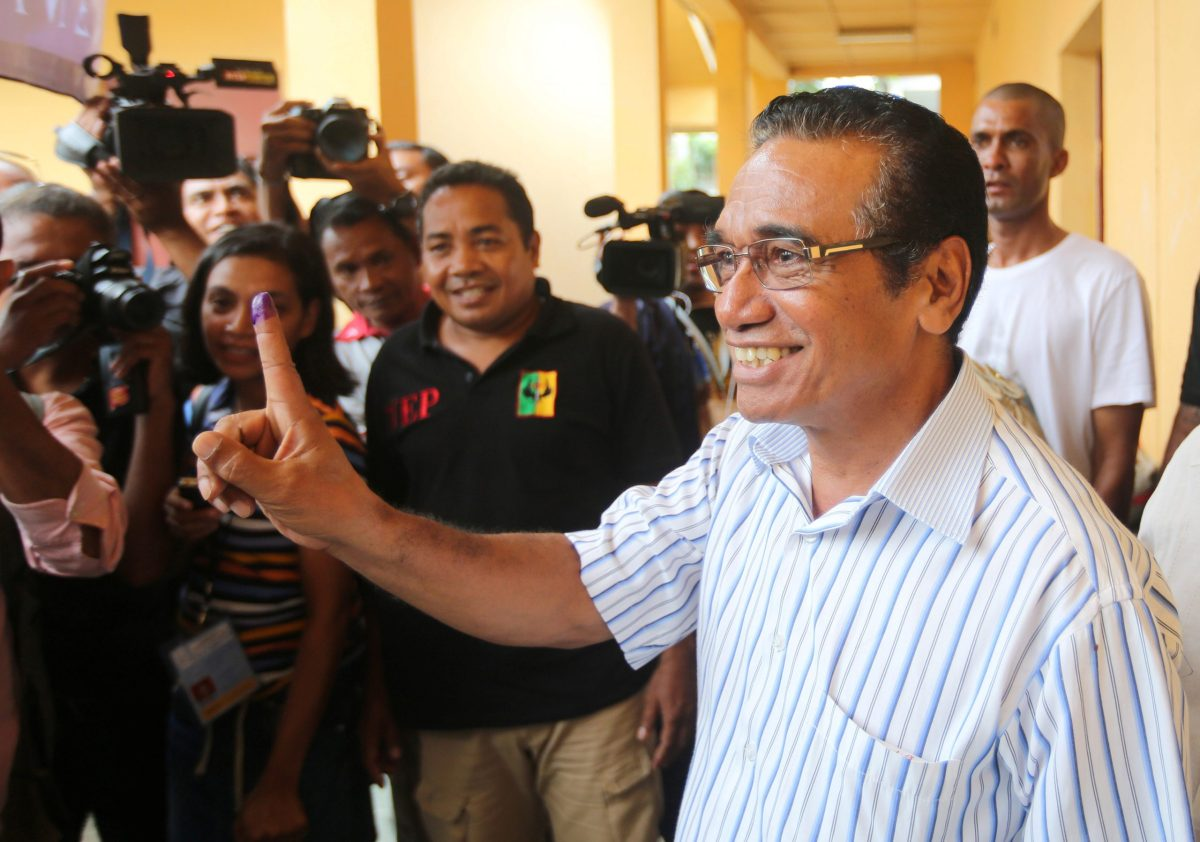 East Timor presidential candidate Francisco Guterres of the FRETILIN party shows his ink marked finger after he casts his ballot during the presidential election in Dili, East Timor March 20, 2017. Photo: Reuters / Lirio da Fonseca
