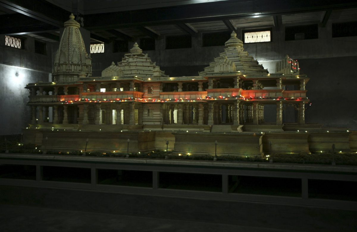 A model of the proposed Ram temple, which Hindus want to build on the site of the demolished Babri Mosque, is pictured in Ayodhya in 2010. Photo: Reuters
