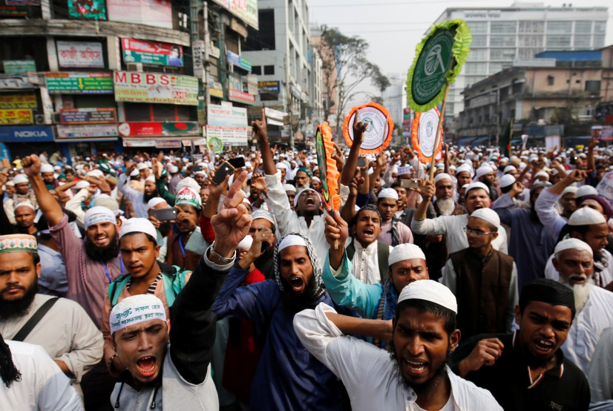Bangladeshi activists  protest in Dhaka against the deaths of Rohingya in Myanmar's Rakhine state late last year. Photo: Mohammad Ponir Hossain, Reuters