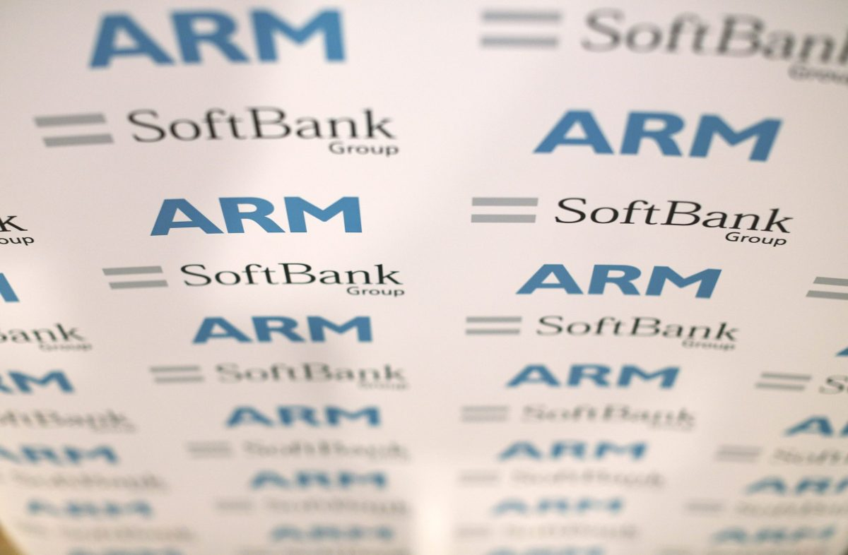 ARM and SoftBank Group logos. Photo: Reuters, Neil Hall