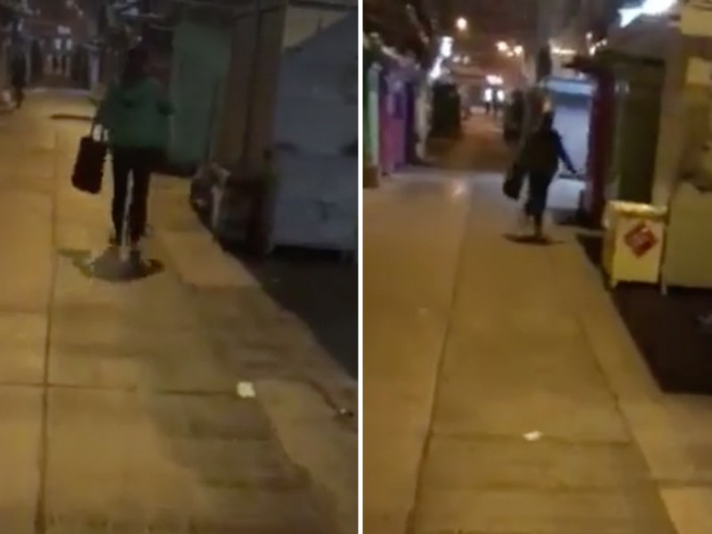 A domestic worker was seen kicking a dog on street in Wan Chai. Photo: Facebook /ng ng