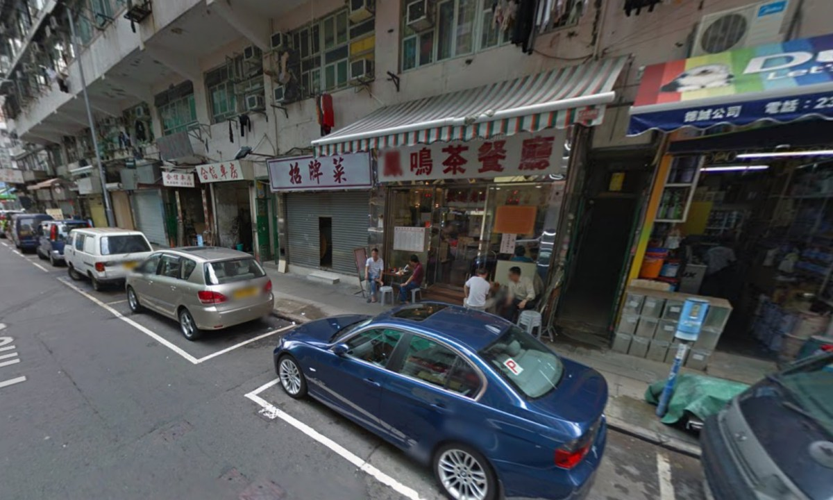 One of the two suitcases was left on Pine Street in Tai Kok Tsui. Photo: Google Map