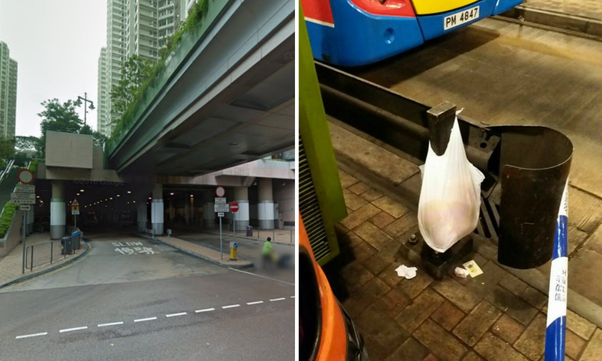 A cleaner saw a bag hanging on a metal fence at the South Horizons Bus Terminus. Photo: Google Map, Facebook/Simmons Chiang