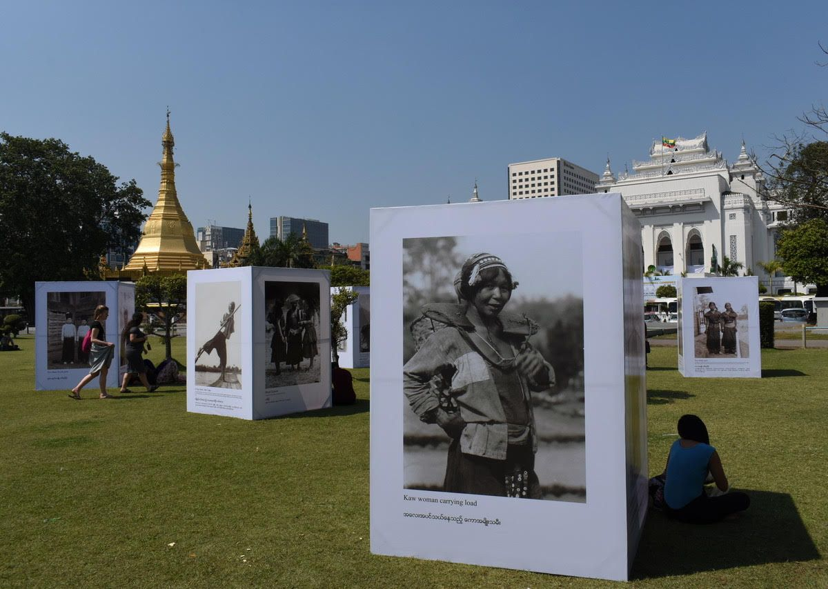 Historic pictures from Myanmar on display at the Yangon Photo Festival in Mahabandoola Park until March 19. Photo: Ron Gluckman