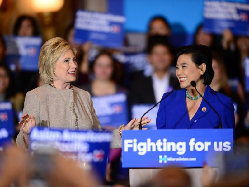 Democratic presidential candidate Hillary Clinton meets with Asian-American and Pacific Islander elected officials on January 7, 2016. Photo: AFP / Frederic J Brown