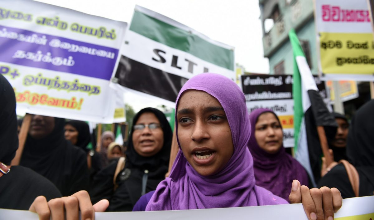 Muslim women take part in a protest – OBJECTING to proposed laws to raise the minimum age of marriage for Muslim girls from 12 to 16 years, in Colombo, November 3, 2016. Photo: AFP / Ishara S. Kodikara