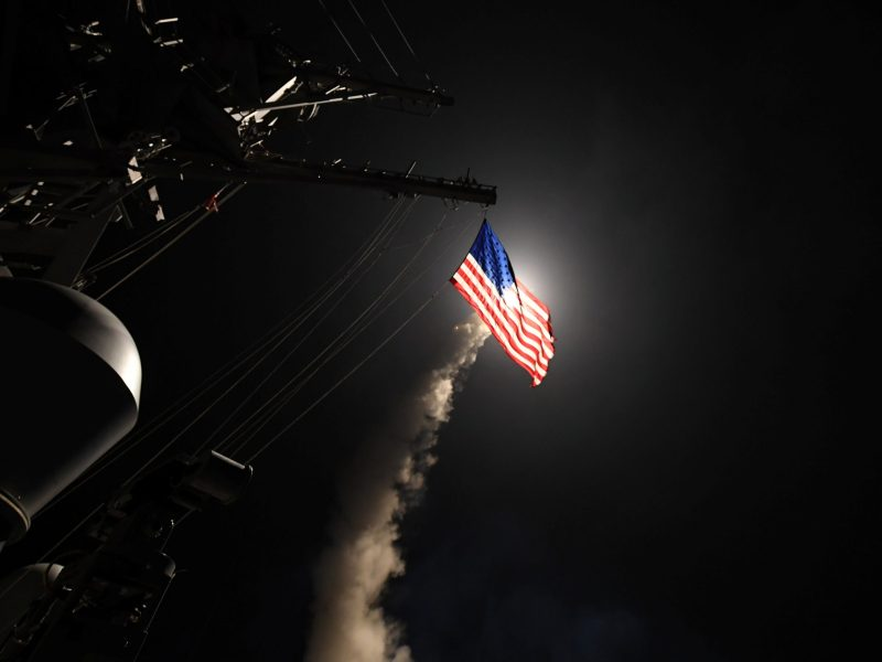 US Navy guided-missile destroyer USS Porter  conducts strike operations. Photo: Ford Williams/US Navy via Reuters