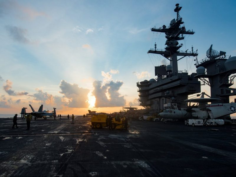 The aircraft carrier USS Carl Vinson transits the South China Sea. Photo: US Navy handout via Reuters