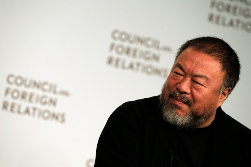 FILE PHOTO: Chinese artist and dissident Ai Weiwei speaks at the Council on Foreign Relations in the Manhattan borough of New York City, U.S., November 2, 2016.  REUTERS/Mike Segar/Files