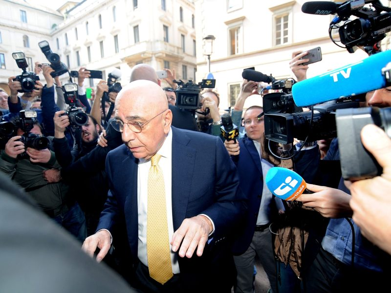 Adriano Galliani arrives at a notary's office for the transfer of ownership of AC Milan from Silvio Berlusconi's Fininvest to China's Li Yonghong in Milan, Italy on Thursday. Photo: Reuters