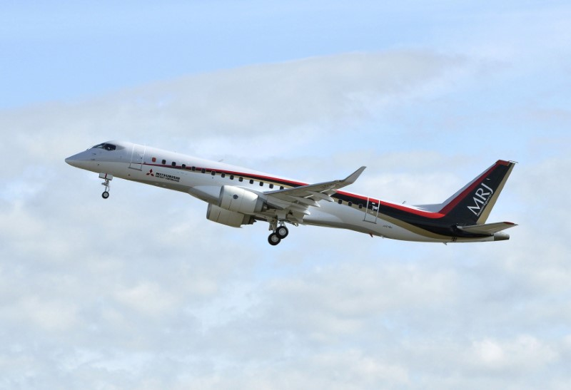The Mitsubishi Regional Jet (MRJ) on a test flight in central Japan, Nov. 11, 2015.  Kyodo/via Reuters
