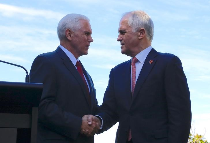 US Vice President Mike Pence (left) shakes hands with Australian Prime Minister Malcolm Turnbull during a press conference  in Sydney on Saturday. Photo: Reuters