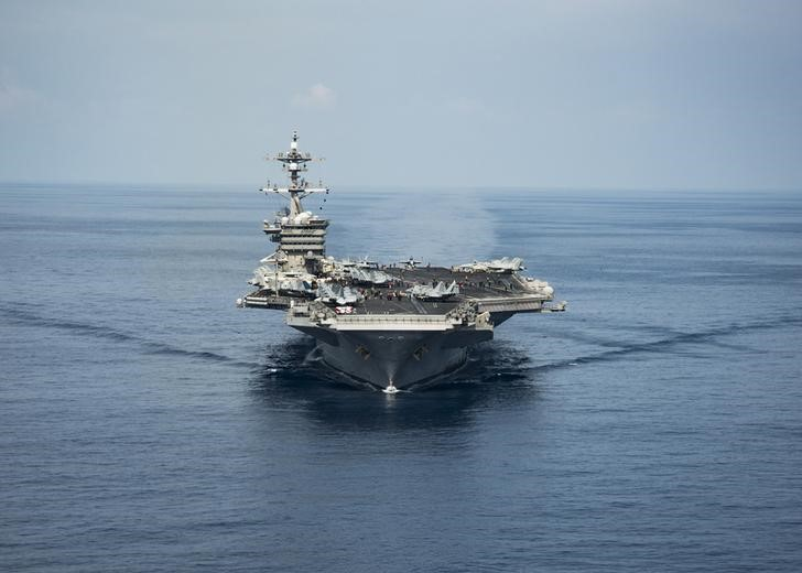 The aircraft carrier USS Carl Vinson transits the South China Sea on April 9, 2017. Photo: US Navy/Reuters