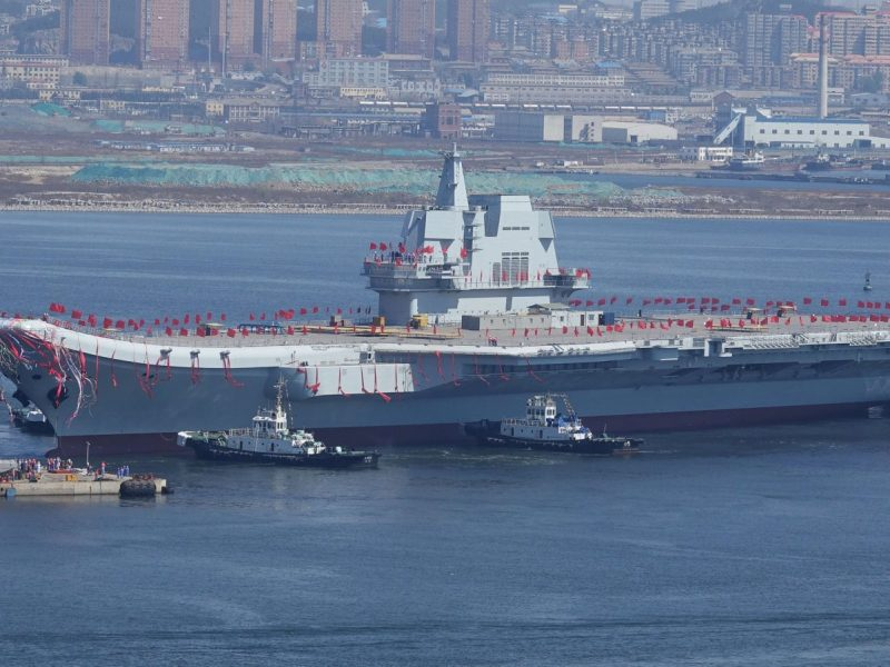 China's first homemade aircraft carrier is seen during its launch in Dalian on April 26, 2017. Photo: Reuters
