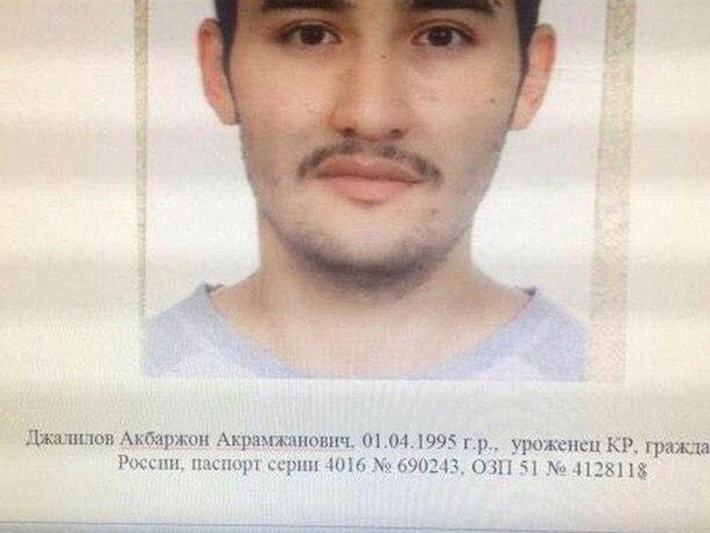 An April police photo shows Akbarzhon Dzhalilov, suspected of a bombing on the St Petersburg metro. Photo: 5th Channel Russia/via Reuters