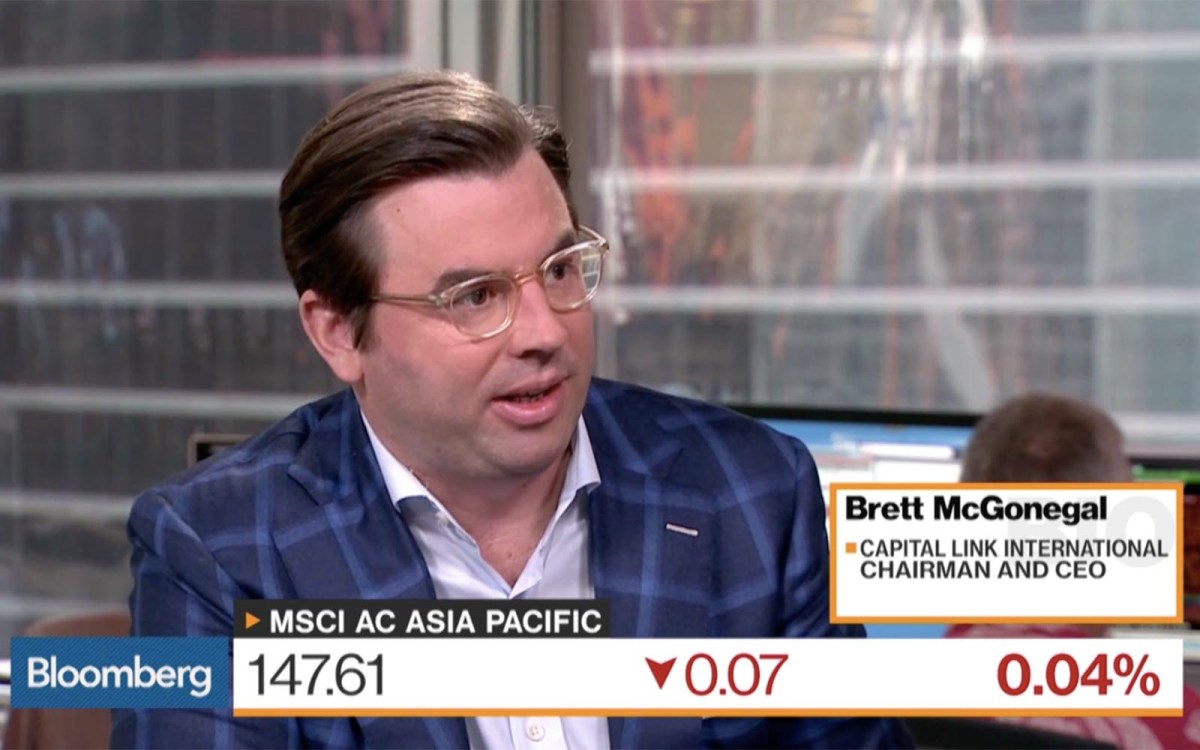 Capital Link International CEO Brett McGonegal on Bloomberg Markets. Photo: Bloomberg Screen grab
