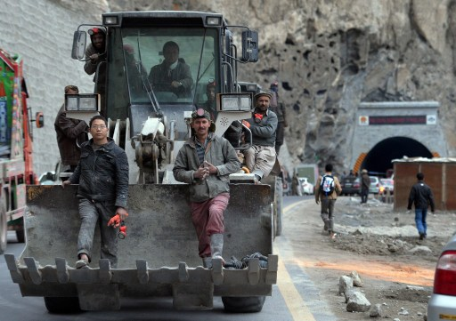 Pakistani and Chinese workers at the site of a Belt and Road project in northern Pakistan. Photo: AFP