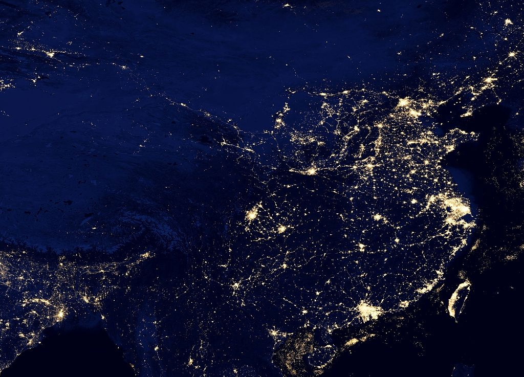 Satellite image of China at night. A research team at Blackrock used satellite images to help predict China's economic growth. Photo: Wikipedia Commons