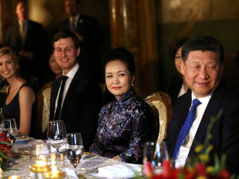 From left: Ivanka and Jared join Chinese first lady Peng Liyuan and President Xi Jinping at dinner. Nice. Photo: Reuters