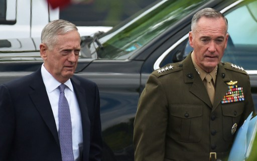 US Defense Secretary James Mattis (L) and Chairman of the Joint Chiefs of Staff Joseph Dunford are seen after briefing US senators on the situation in North Korea. Photo: AFP/Mandel Ngan