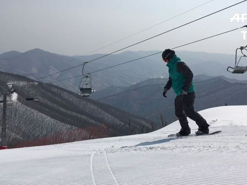 Skiing the empty slopes of North Korea.  Photo: AFP