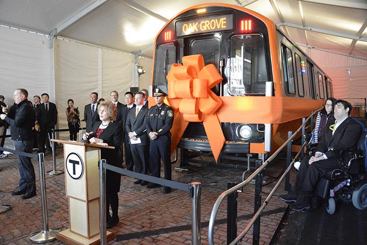 Massachusetts Transportation Secretary Stephanie Pollack gives opening remarks at MBTA's Orange Line subway car unveiling in Boston on April 3, 2017. Photo: CRRC MA