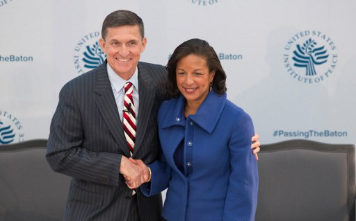 Lieutenant General Michael Flynn and National Security Advisor Designate and Ambassador Susan Rice. Photo AFP