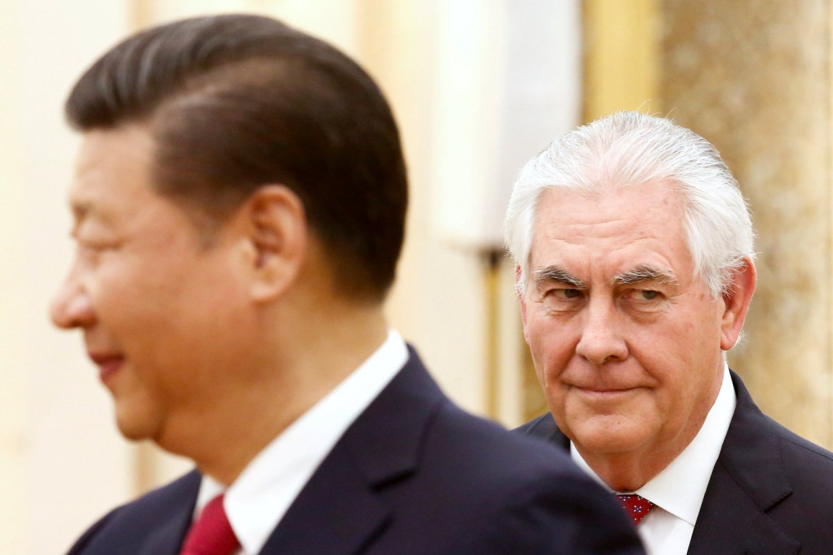Chinese President Xi Jinping meets US Secretary of State Rex Tillerson at the Great Hall of the People in Beijing on March 19, 2017. The Trump administration is concerned about its large trade deficit with China.  Photo: Reuters/Thomas Peter/File Photo