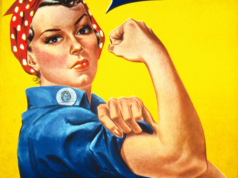 Rosie the Riveter is symbolic of an age when America mobilized its citizens for WWII. Illustration: Wikimedia Commons