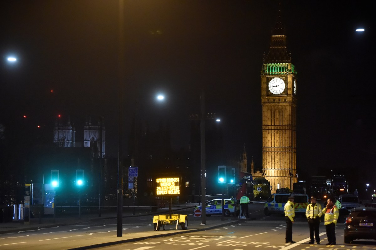 Police work at the scene after a terrorist attack on Westminster Bridge in London on March 22, 2017. Photo: Reuters/Hannah McKay
