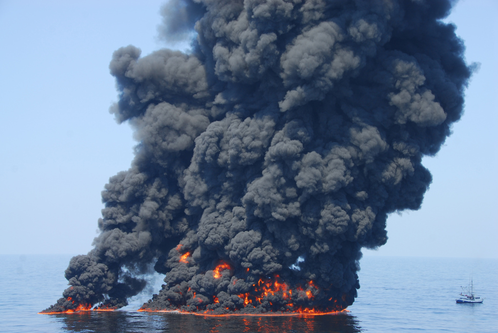 Controlled burns at  Deepwater Horizon. Photo: National Oceanic and Atmospheric Administration