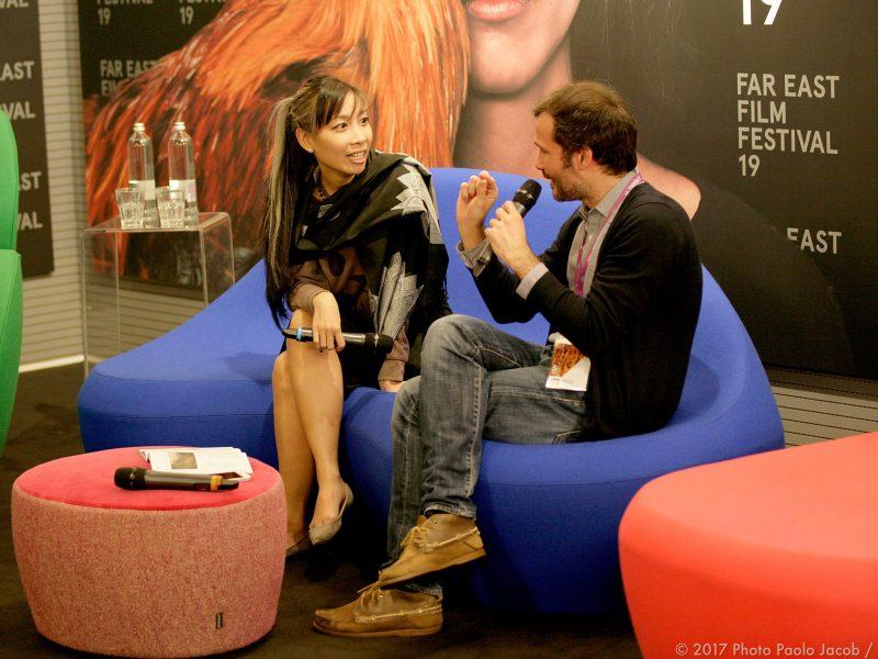 Lao filmmaker Mattie Do (left) talks to Alessandro Gropplero. Photo: FEFF
