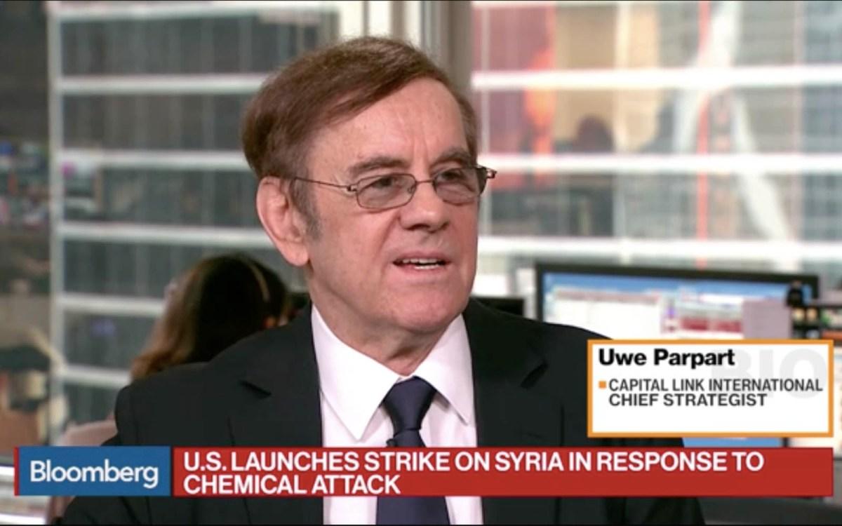 Capital Link International chief strategist Uwe Parpart. Photo: Bloomberg screen grab