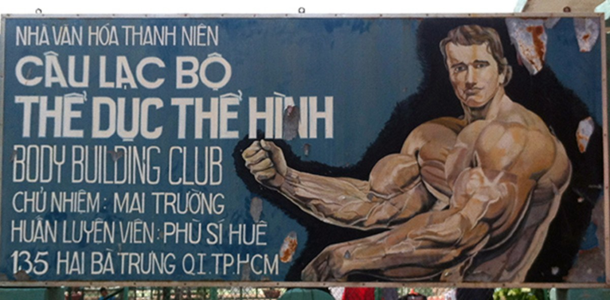 A hand-painted folk portrait of Arnold Schwarzenegger advertising a Ho Chi Minh City bodybuilding gym, photographed in 2011. Photo: Cristina Nualart