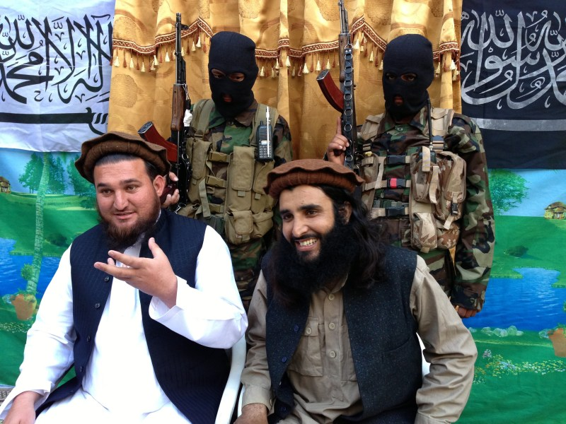 Tehreek-e-Taliban Pakistan (TTP) spokesman Ehsanullah Ehsan (left) and TTP member Adnan Rasheed attend a press conference in Shabtoi, a village in Pakistan's South Waziristan, on February 2, 2013. Photo: AFP