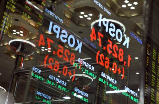 The Korean stock index at the Korea Exchange in Seoul. Photo: AFP/Jung Yeon-je
