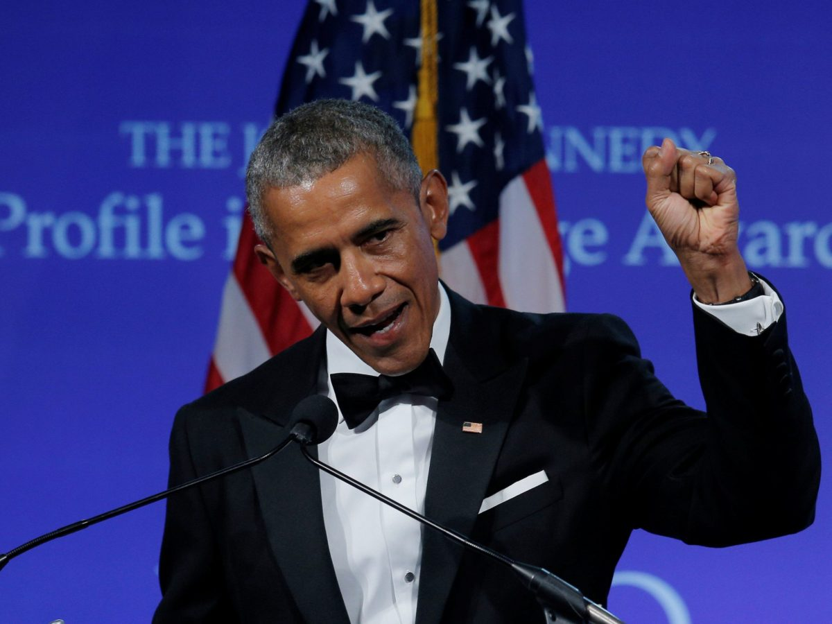Former US president Barack Obama speaks after receiving the 2017 Profile in Courage Award during a ceremony at the John F Kennedy Library in Boston. Photo: Reuters/Brian Snyder
